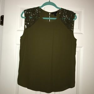 J. Crew Olive Green Silky Tank with Lace Shoulders